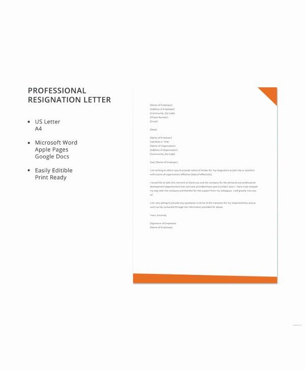 Letter format Google Docs Lovely 17 Letter Of Resignation Samples – Pdf Word Apple Pages