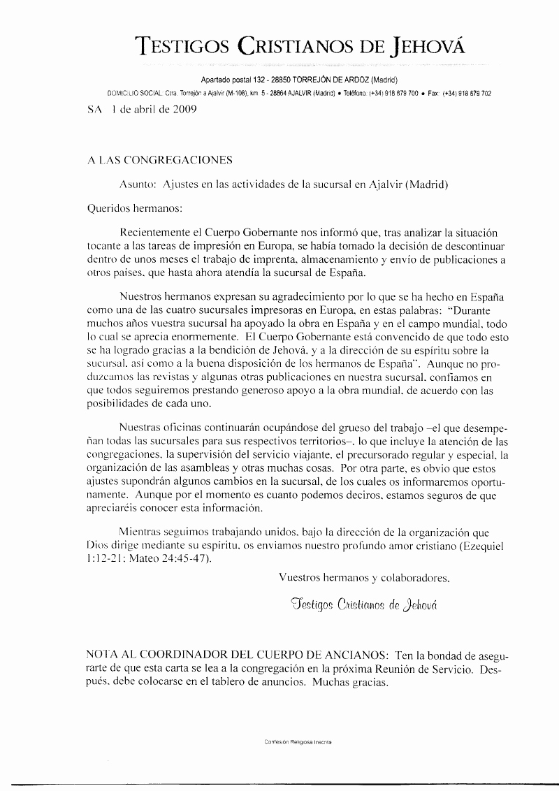 Letter format In Spanish New Letters From the Governing Body Jehovah S Witnesses