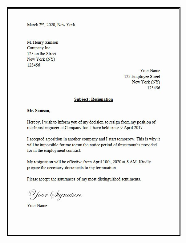 Letter format On Word Awesome Resignation Letter Template – Resignation Letter