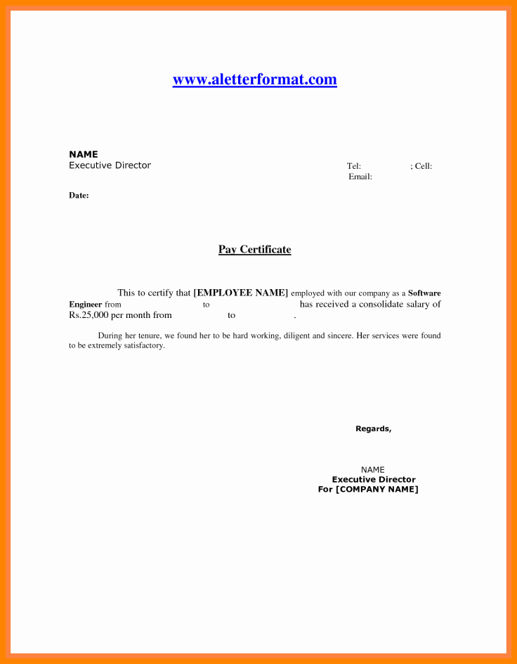 Letter format On Word Beautiful 7 Salary Certificate format In Word