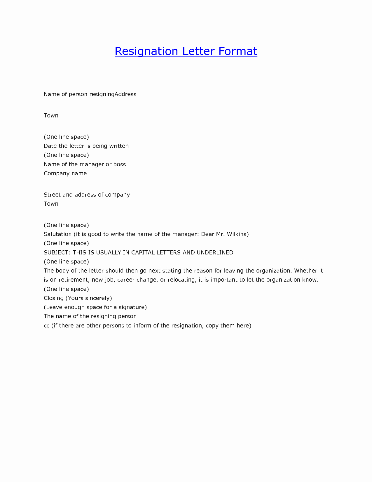 Letter format On Word Best Of Letter Resignation format