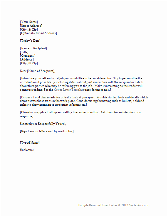 Letter format On Word New Resume Cover Letter Template for Word