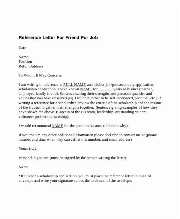Letter format to A Friend Elegant 5 Reference Letter for Friend Templates Free Sample