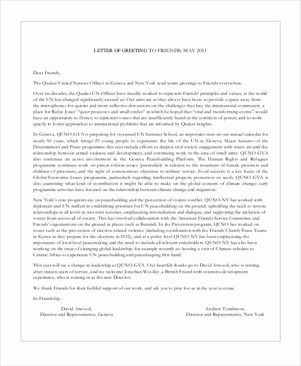 Letter format to A Friend Fresh Sample Greeting Letter 6 Examples In Word Pdf
