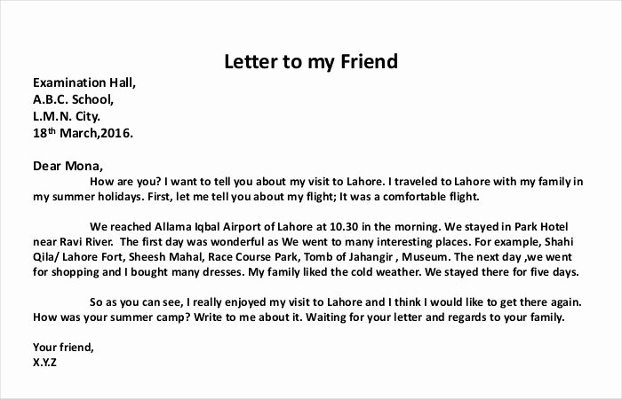 Letter format to A Friend Lovely How to Write A Personal Letter with Examples