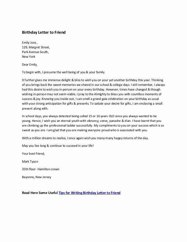Letter format to A Friend Luxury Sample Birthday Letter to Friend