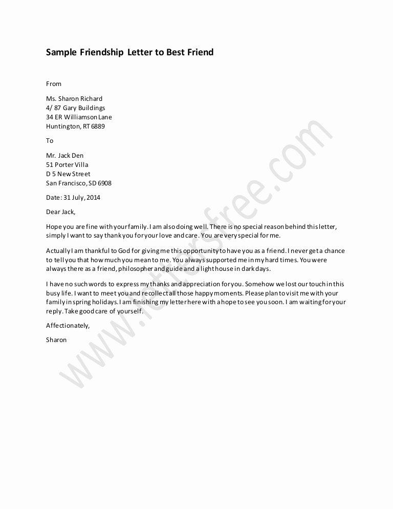 Letter format to A Friend Unique Friendship Letter to Best Friend Sample