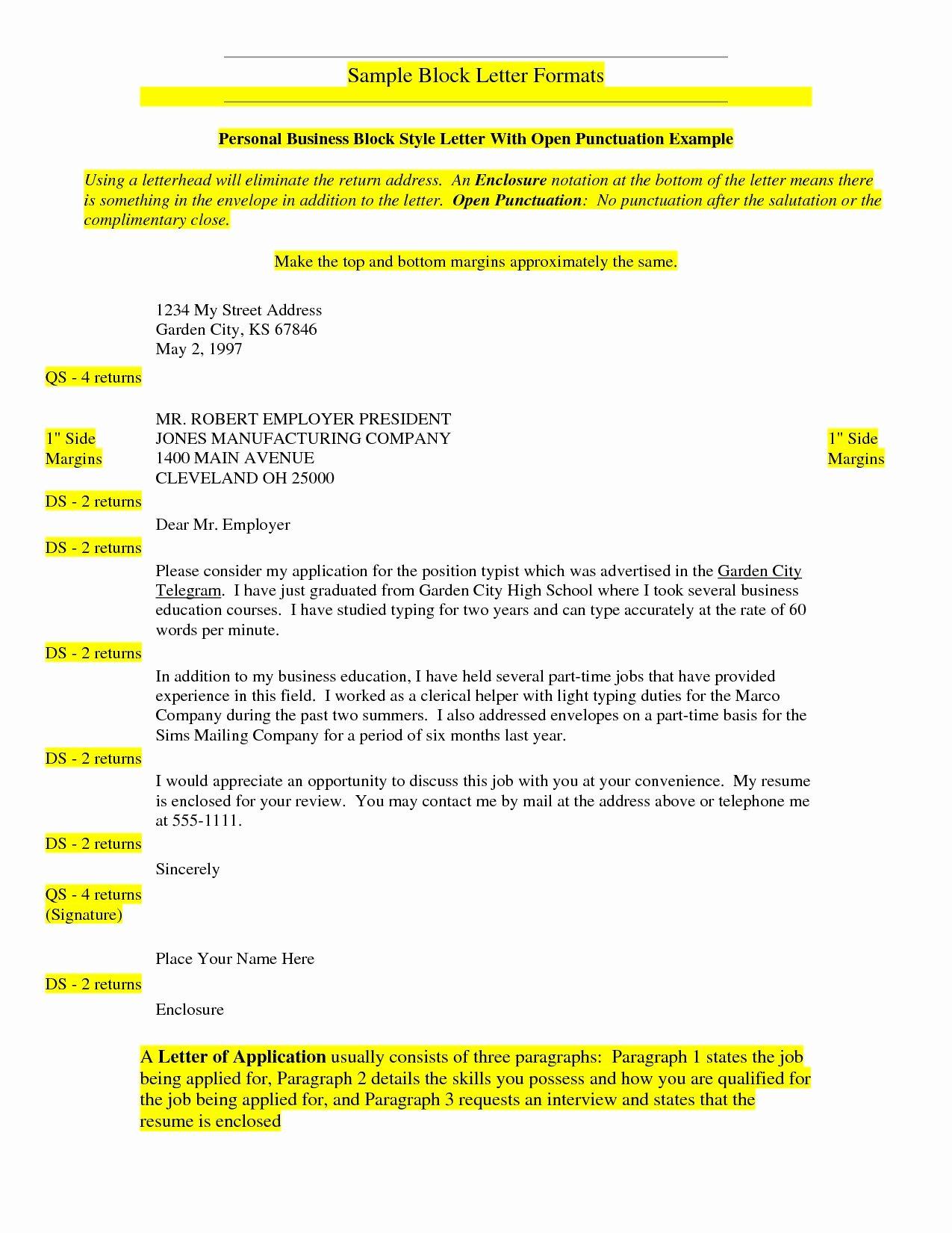 Letter format with Enclosures Elegant New Block Letter format with Enclosure