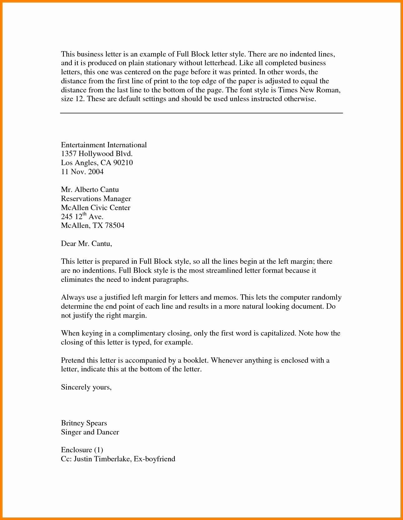 Letter format with Enclosures Unique Business Letter format Enclosure and Carbon Copy with
