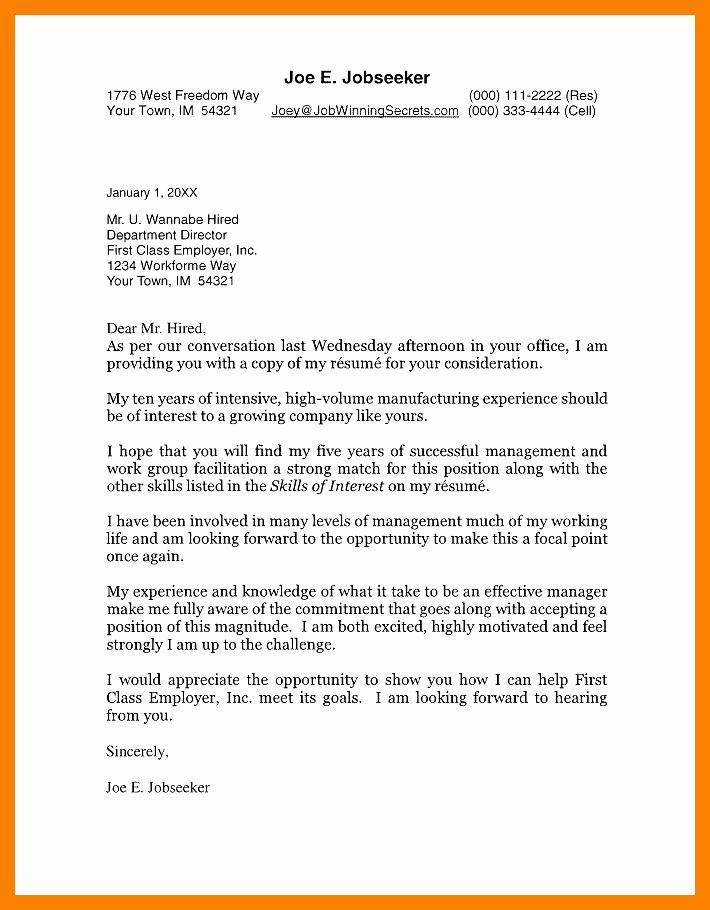 Letter In Mla format Fresh Cover Letter format Template