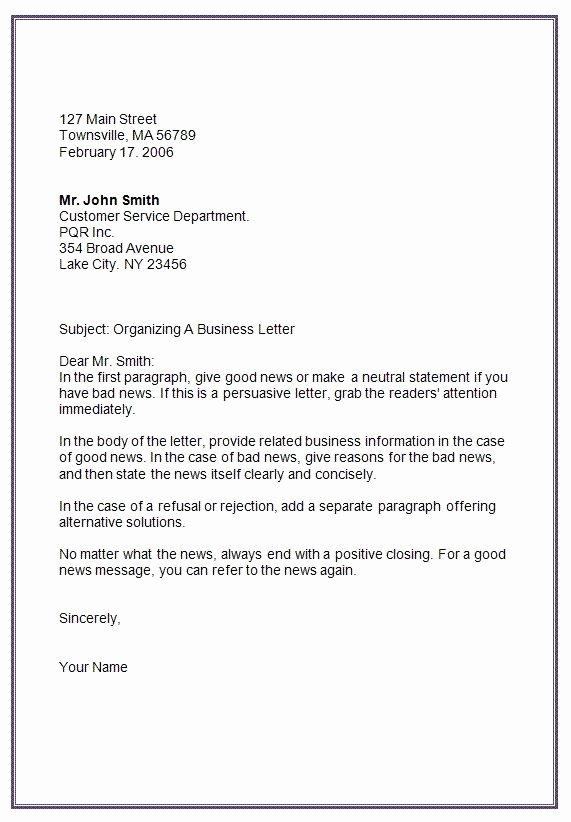 Letter In Mla format Unique Letter formats Mla Business Letter format Template