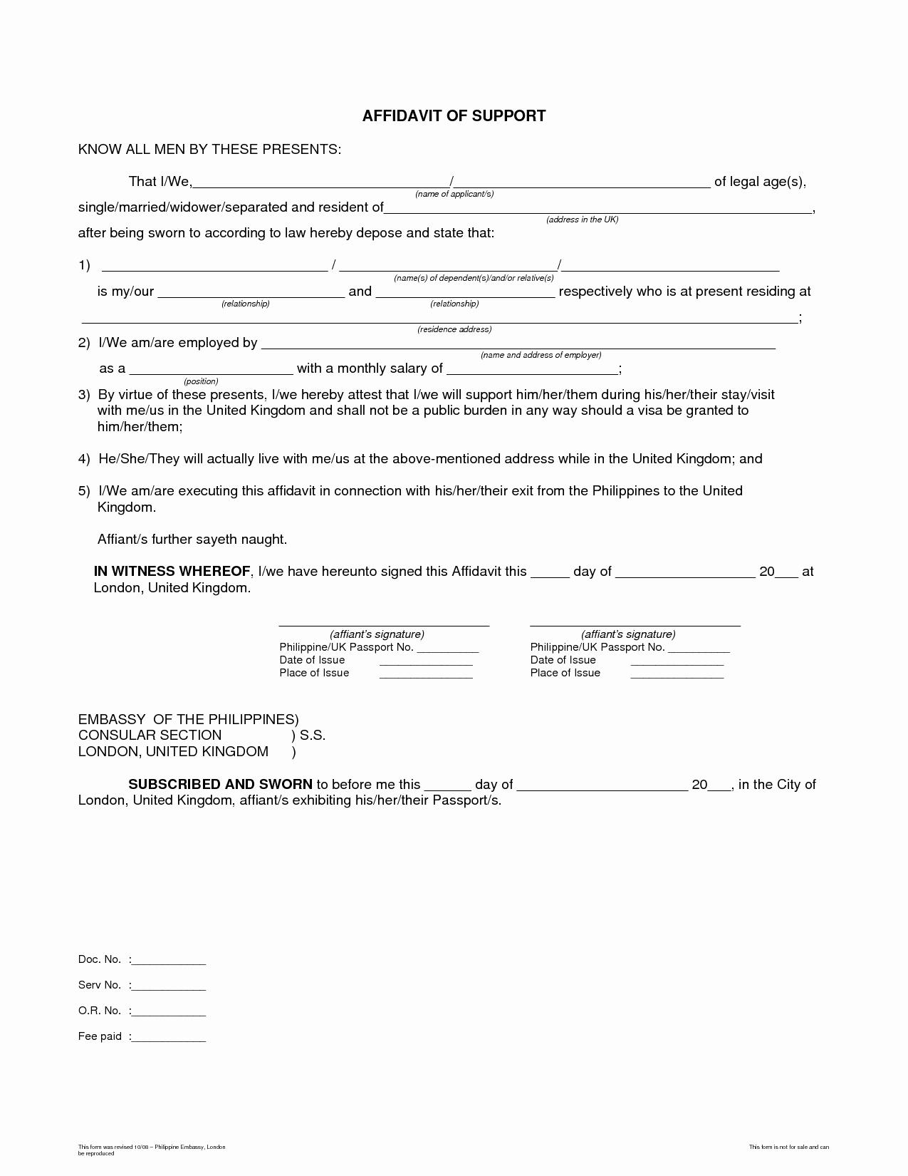 Letter Of Affidavit Of Support Beautiful Template Affidavit Support