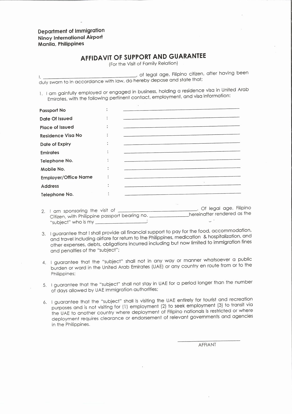 Letter Of Affidavit Of Support Best Of Template Affidavit Support Affidavit Support