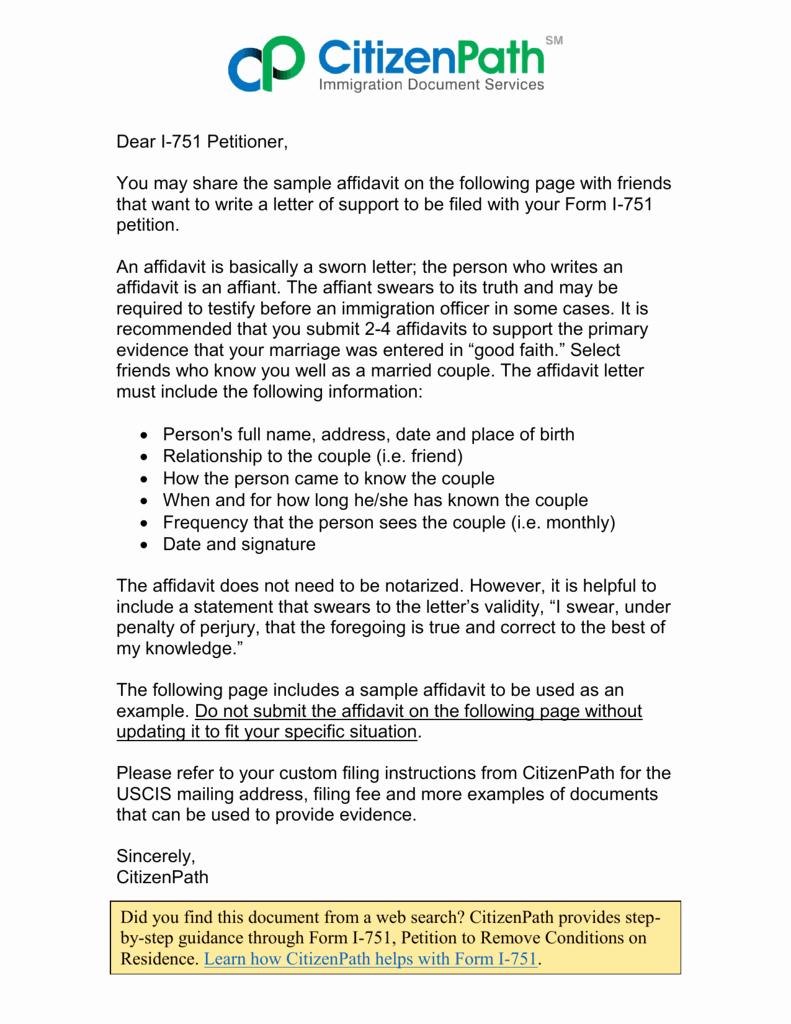 Letter Of Affidavit Of Support Elegant I 751 Affidavit Sample