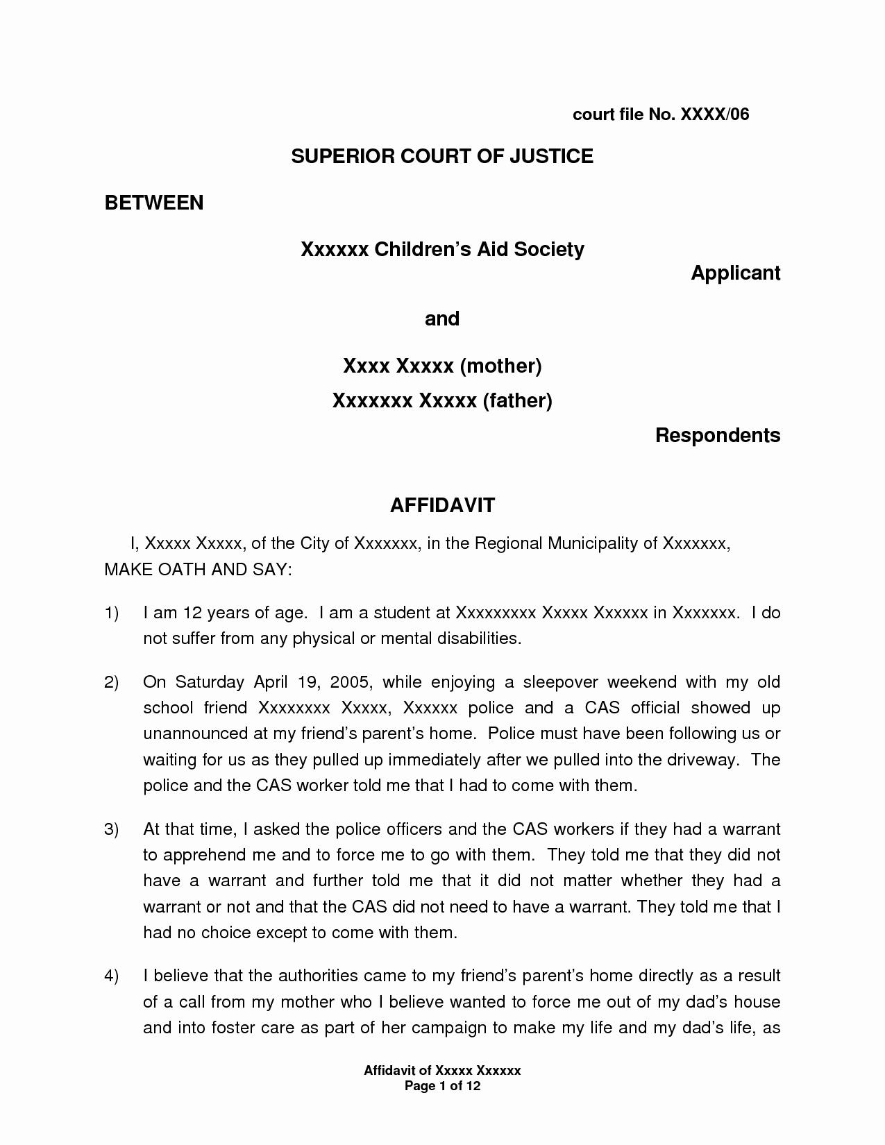 Letter Of Affidavit Of Support Elegant Letter Affidavit Sample for Immigration Support