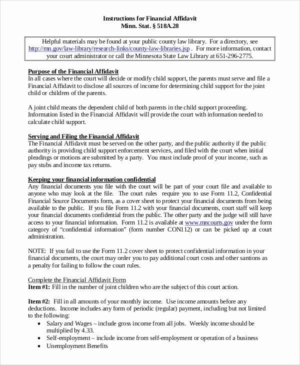 Letter Of Affidavit Of Support Inspirational 8 Affidavit Of Support Samples