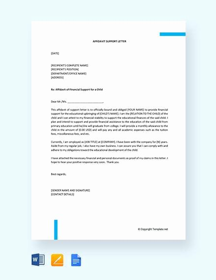Letter Of Affidavit Of Support Lovely 12 Affidavit Samples Doc Pdf