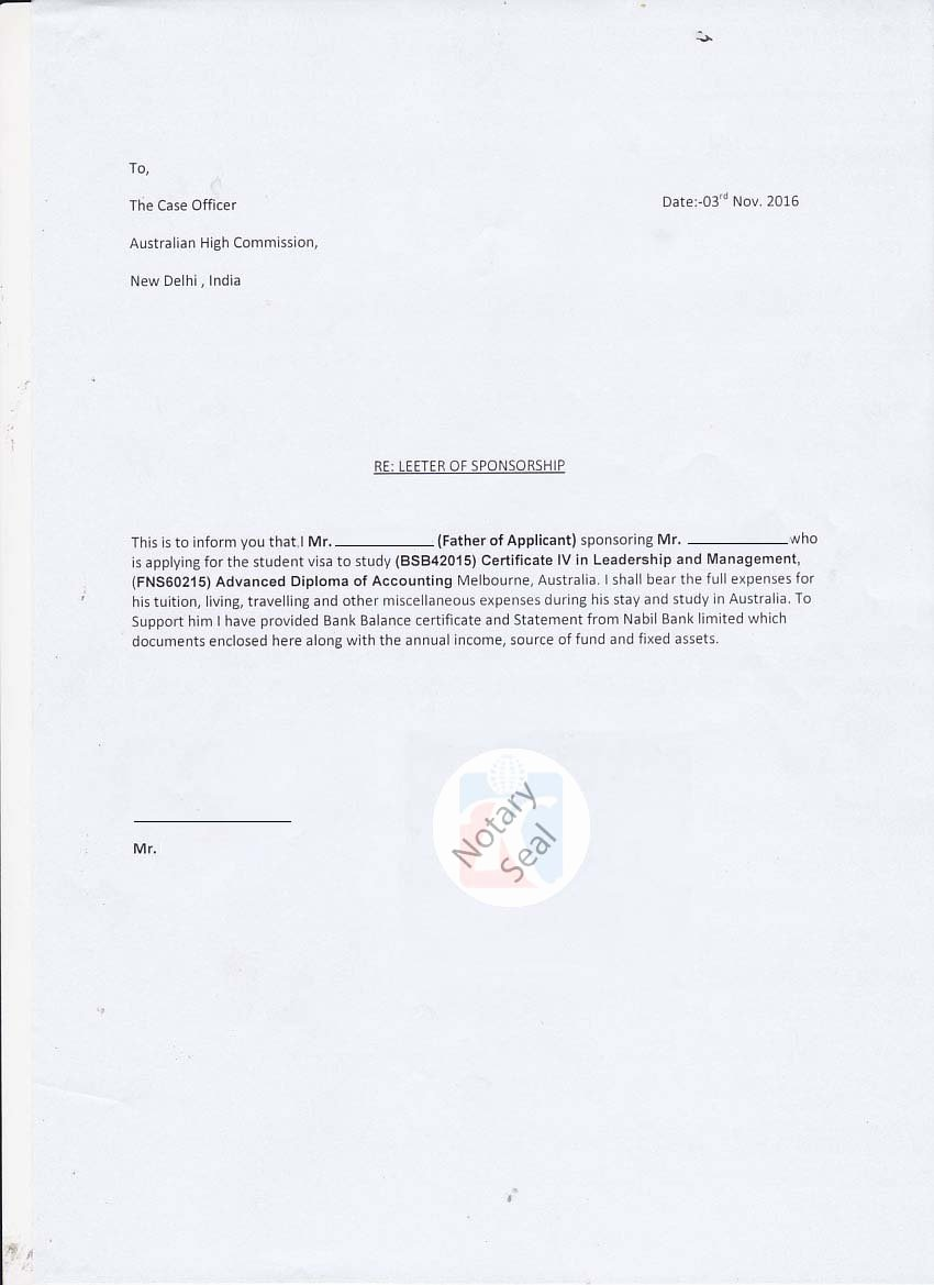 Letter Of Affidavit Of Support Luxury Sponsorship Certificate Affidavit Of Support