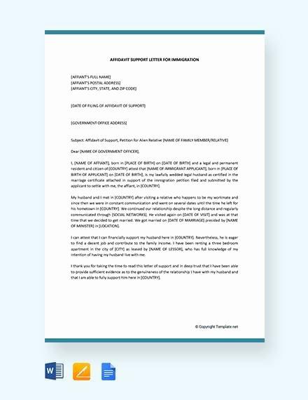 Letter Of Affidavit Of Support Unique 12 Affidavit Samples Doc Pdf