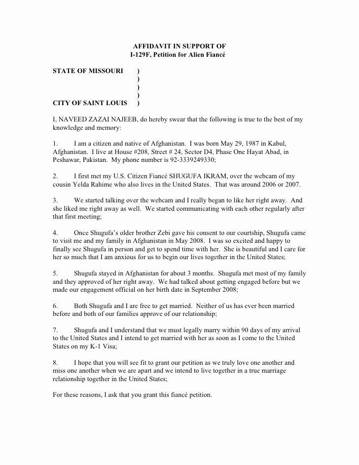Letter Of Affidavit Of Support Unique S Ikram Affidavit In Support I129 Fiance