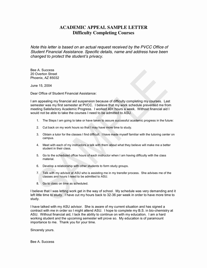 Letter Of Appeal format Awesome Academic Appeal Sample Letter In Word and Pdf formats