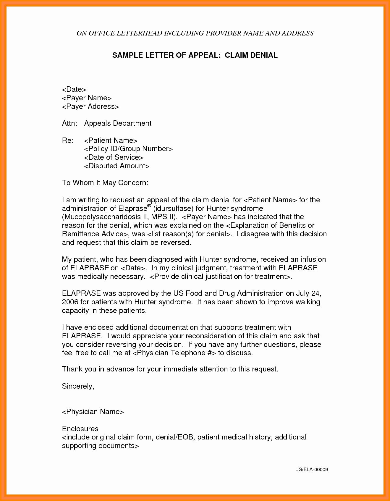 Letter Of Appeal format Best Of 4 Appeal Letter for Medical Bill