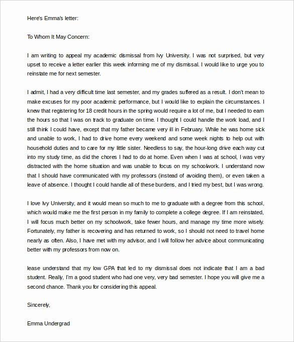 Letter Of Appeal format Elegant 18 Appeal Letter Templates Pdf Doc