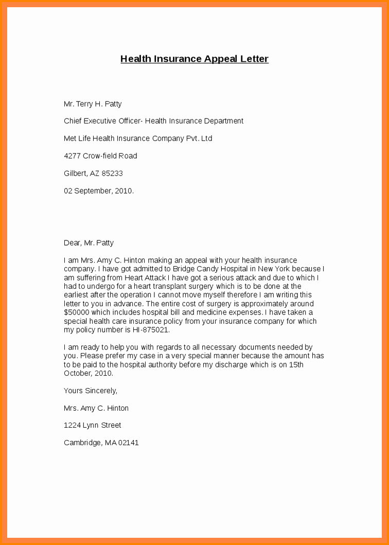Letter Of Appeal format Elegant 7 Insurance Appeal Letter Sample