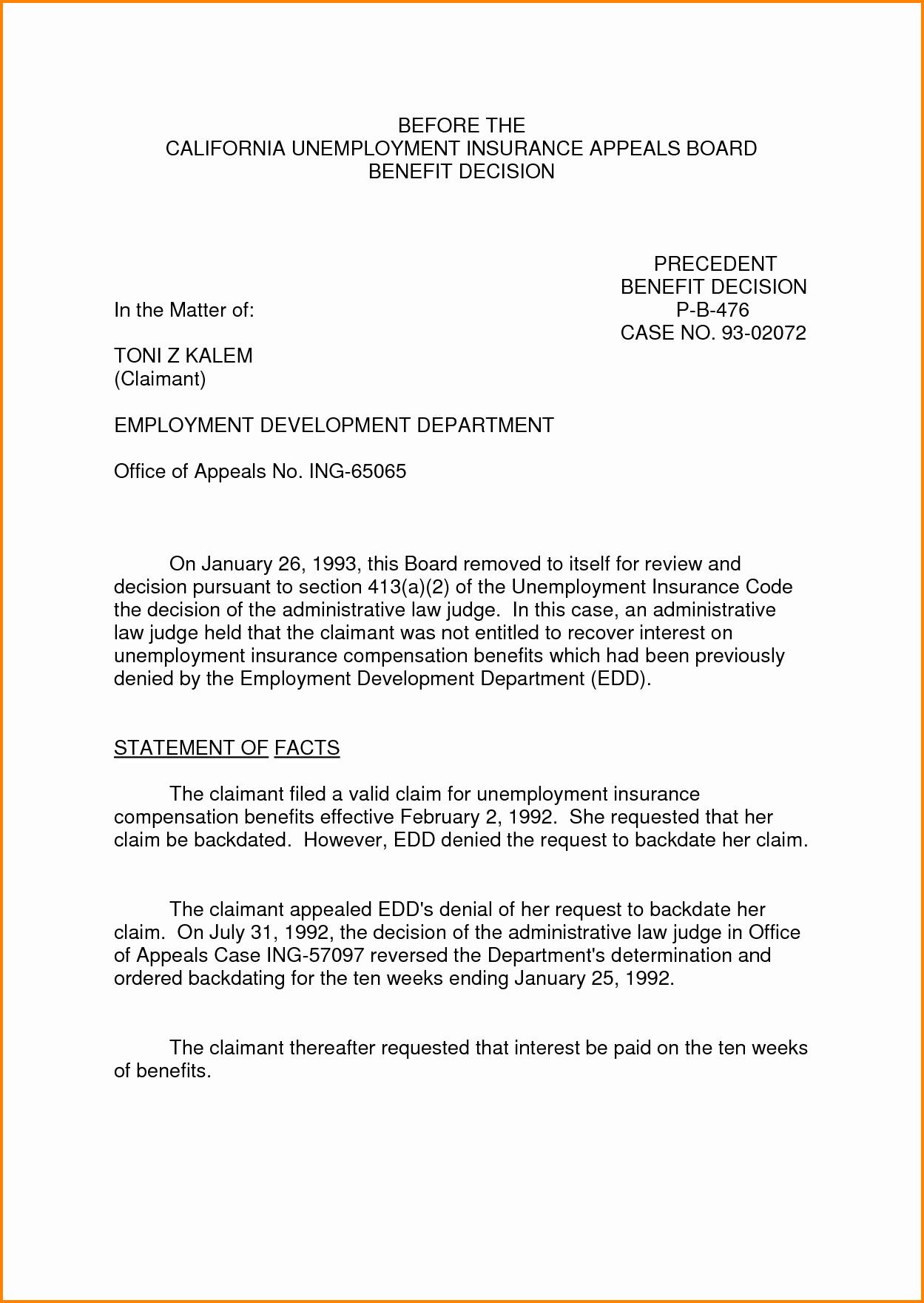 Letter Of Appeal format Inspirational 8 Sample Appeal Letter for Unemployment Denial