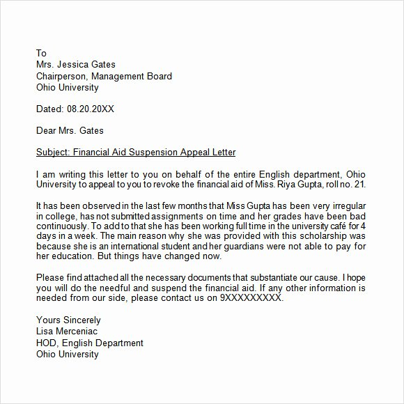 Letter Of Appeal format Lovely Appeal Letter 12 Free Samples Examples format