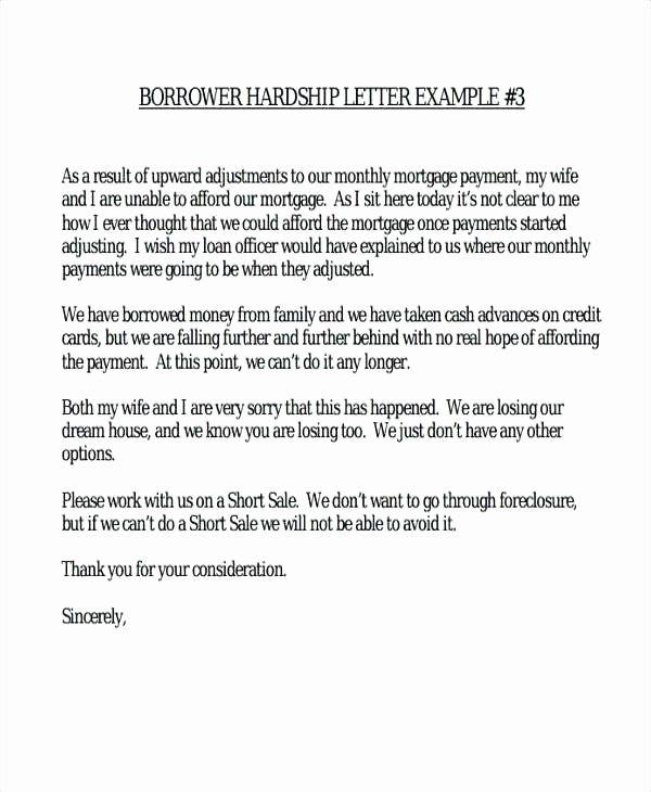 Letter Of Contribution for Loan Modification Elegant Hardship Letter Template Sample Simple Letters Financial