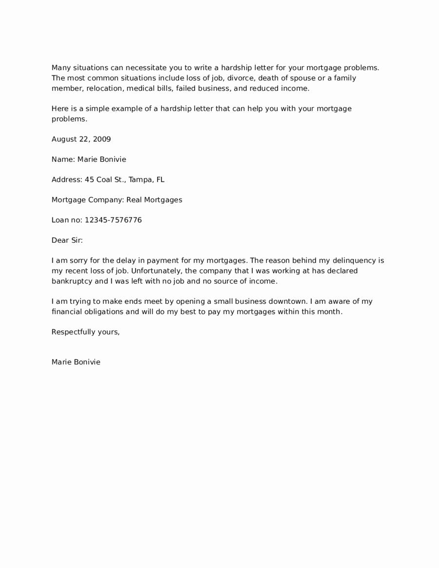 Letter Of Contribution for Loan Modification Elegant Simple Hardship Letter