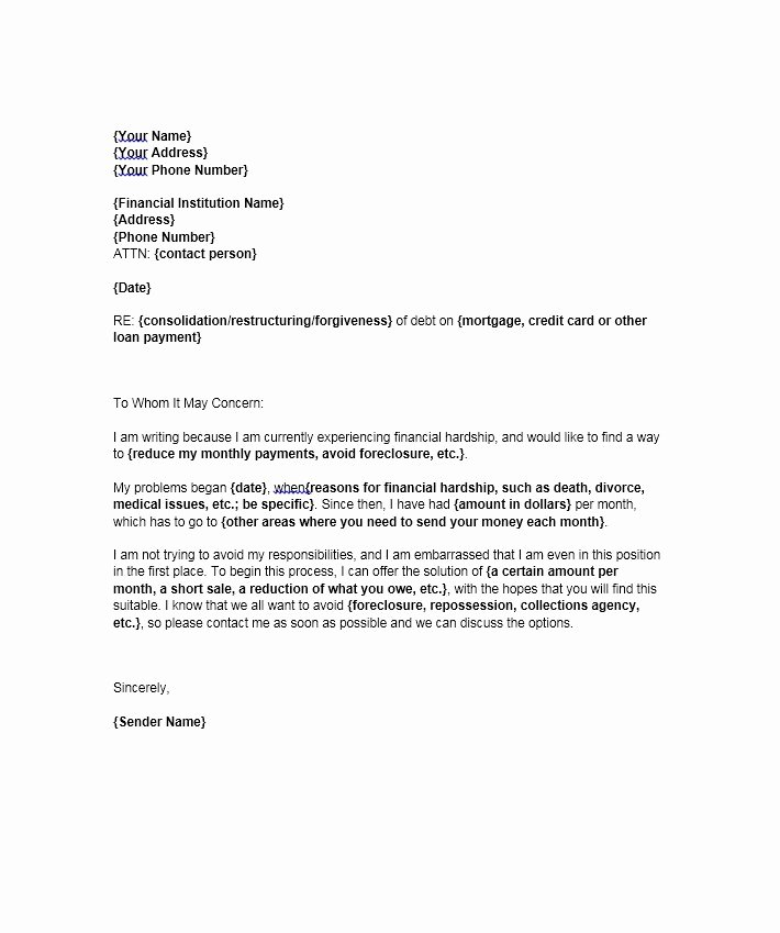 Letter Of Contribution for Loan Modification Inspirational Financial Hardship Letter