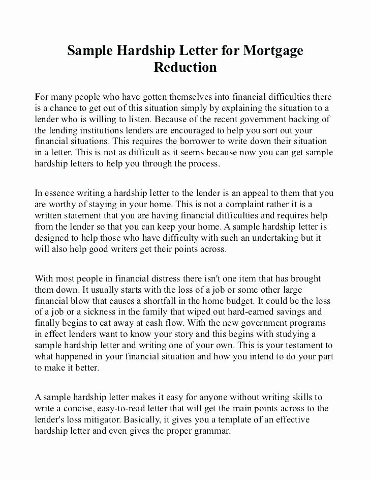 Letter Of Contribution for Loan Modification Inspirational Hardship Letter for Loan Modification