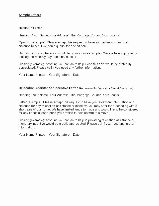 Letter Of Contribution for Loan Modification Inspirational Hardship Letter for Short Sale