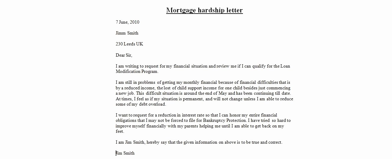 Letter Of Contribution for Loan Modification Luxury Loan Modification Hardship Letter Sample Letter Of