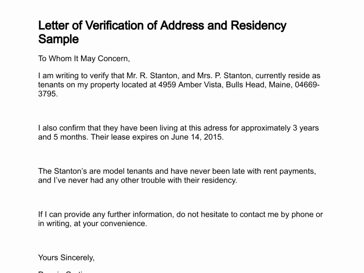 Letter Of Domicile New Letter Of Verification