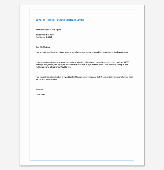 Letter Of Explanation for Address Template Beautiful Sample Letter Of Financial Hardship Mortgage Sample