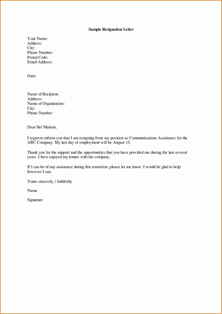 Letter Of Explanation for Address Template Elegant 25 Best Ideas About Sample Of Resignation Letter On