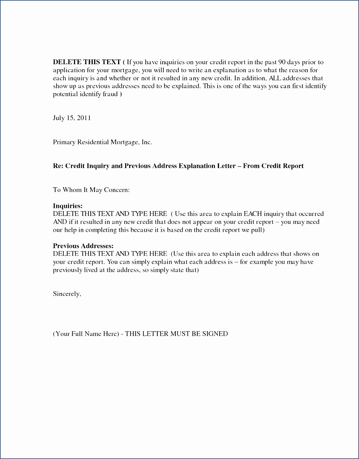 Letter Of Explanation for Credit Inquiries Template Elegant Signed Letter Explanation for Address – Perfect Resume