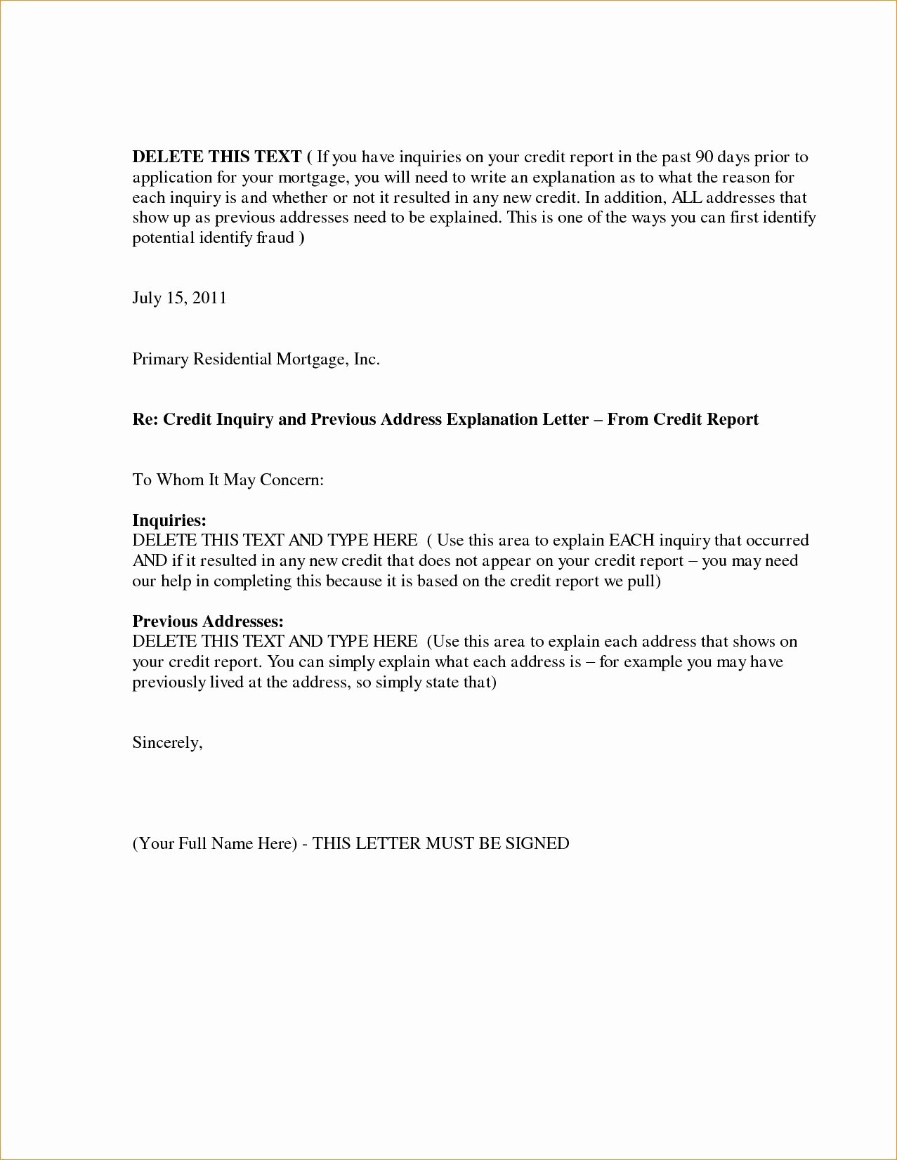 Letter Of Explanation Word Template Best Of Letter Explanation for Mortgage Word Template Collection