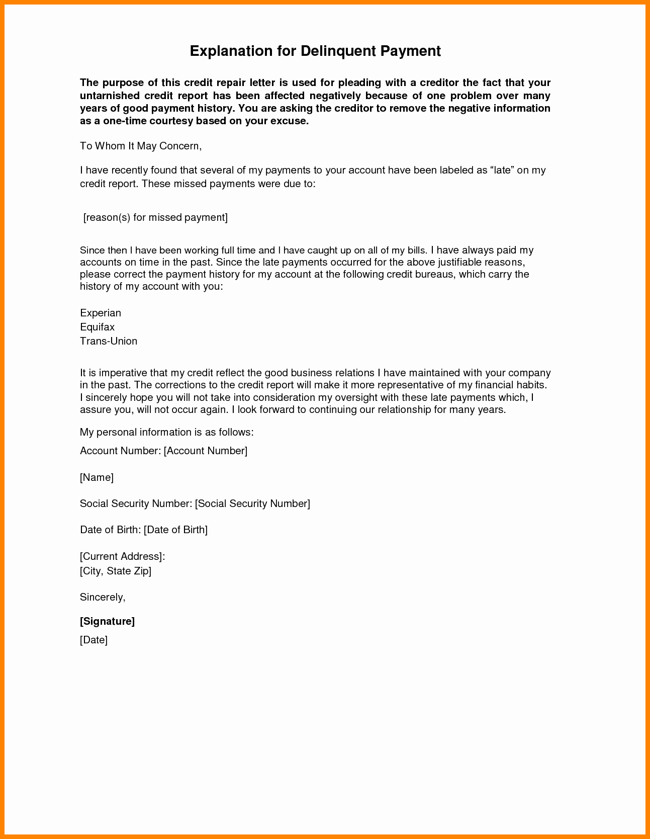 Letter Of Explanation Word Template Fresh Letter Explanation Template Cic Address Word Business