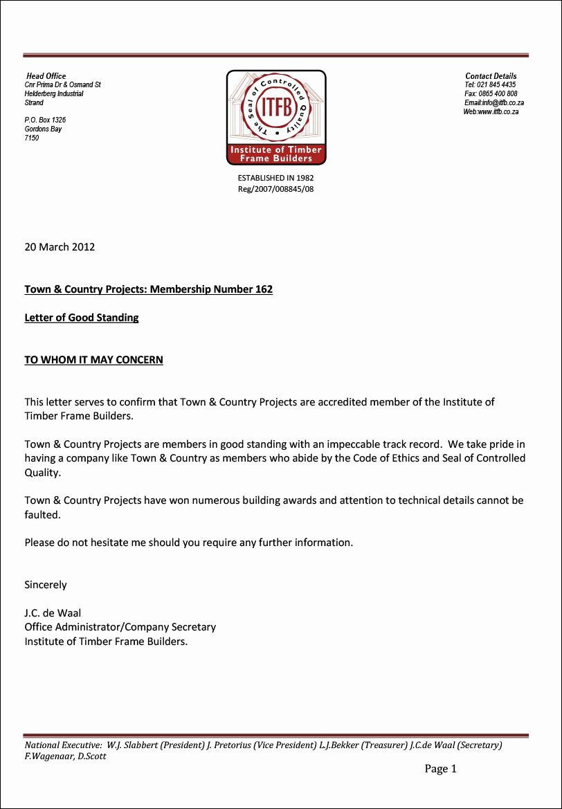 Letter Of Good Standing Sample Elegant Testimonials