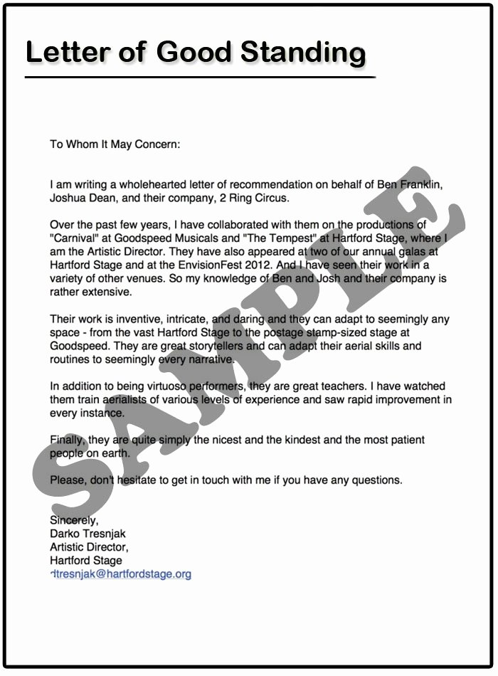 Letter Of Good Standing Sample Lovely Sample Letter Good Standing Employee