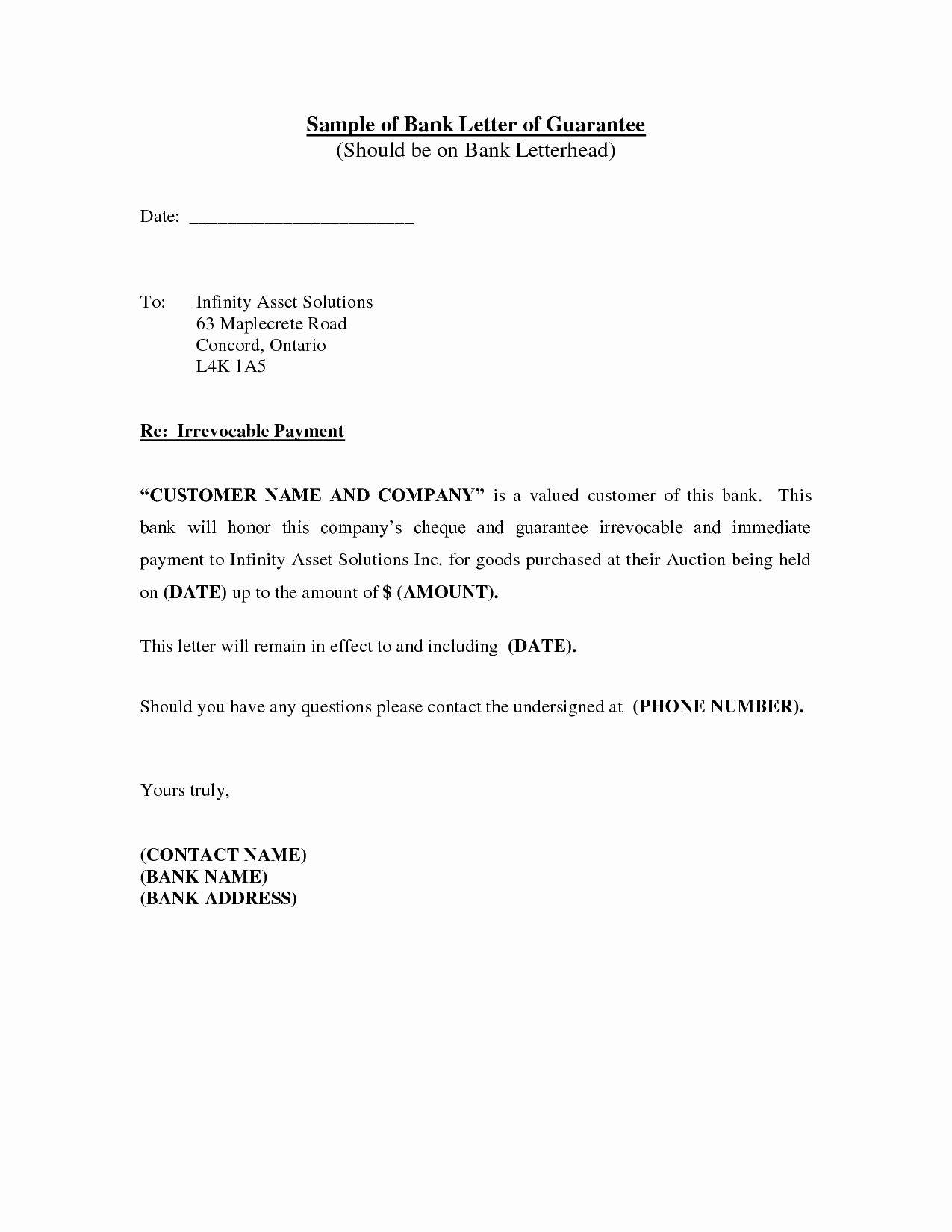 Letter Of Guarantee for Auto Title Unique Best S Of Sample Letter From A Bank Bank Reference