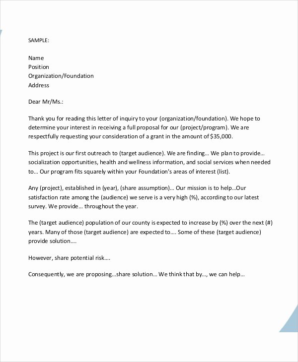 Letter Of Inquiry format Lovely Sample Grant Proposal Letter 9 Examples In Word Pdf