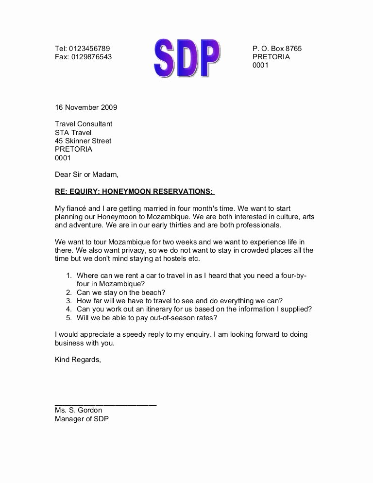 Letter Of Inquiry format Luxury Letter Enquiry