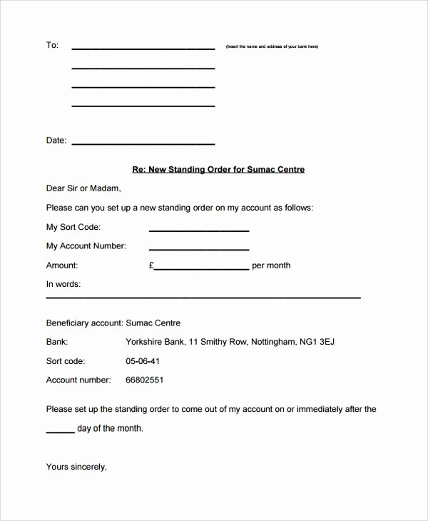 Letter Of Instruction Template Bank Best Of 20 Sample order Letters Pdf Word Pages