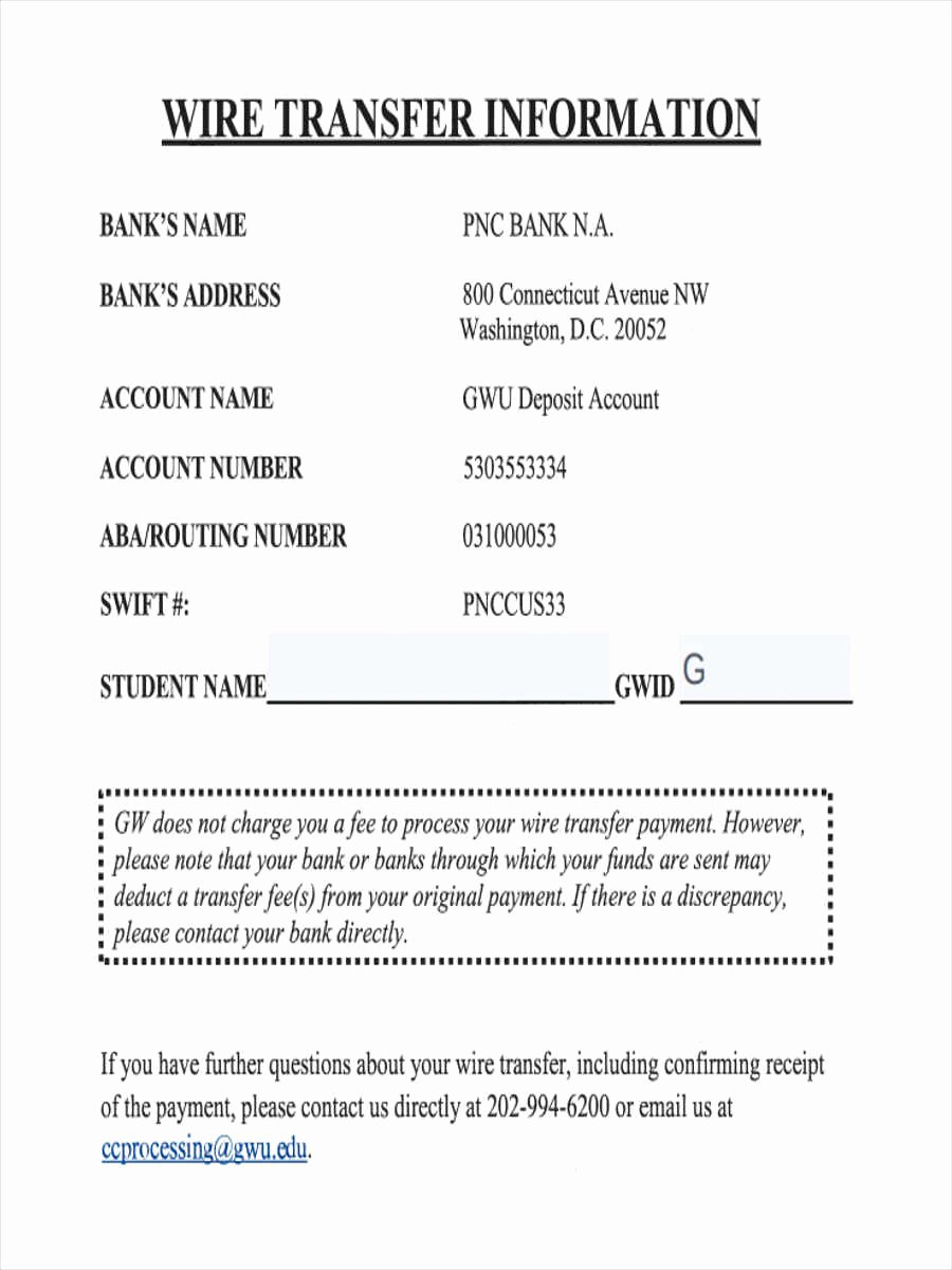 Letter Of Instruction Template Bank Best Of 7 Wire Transfer forms Free Sample Example format Download