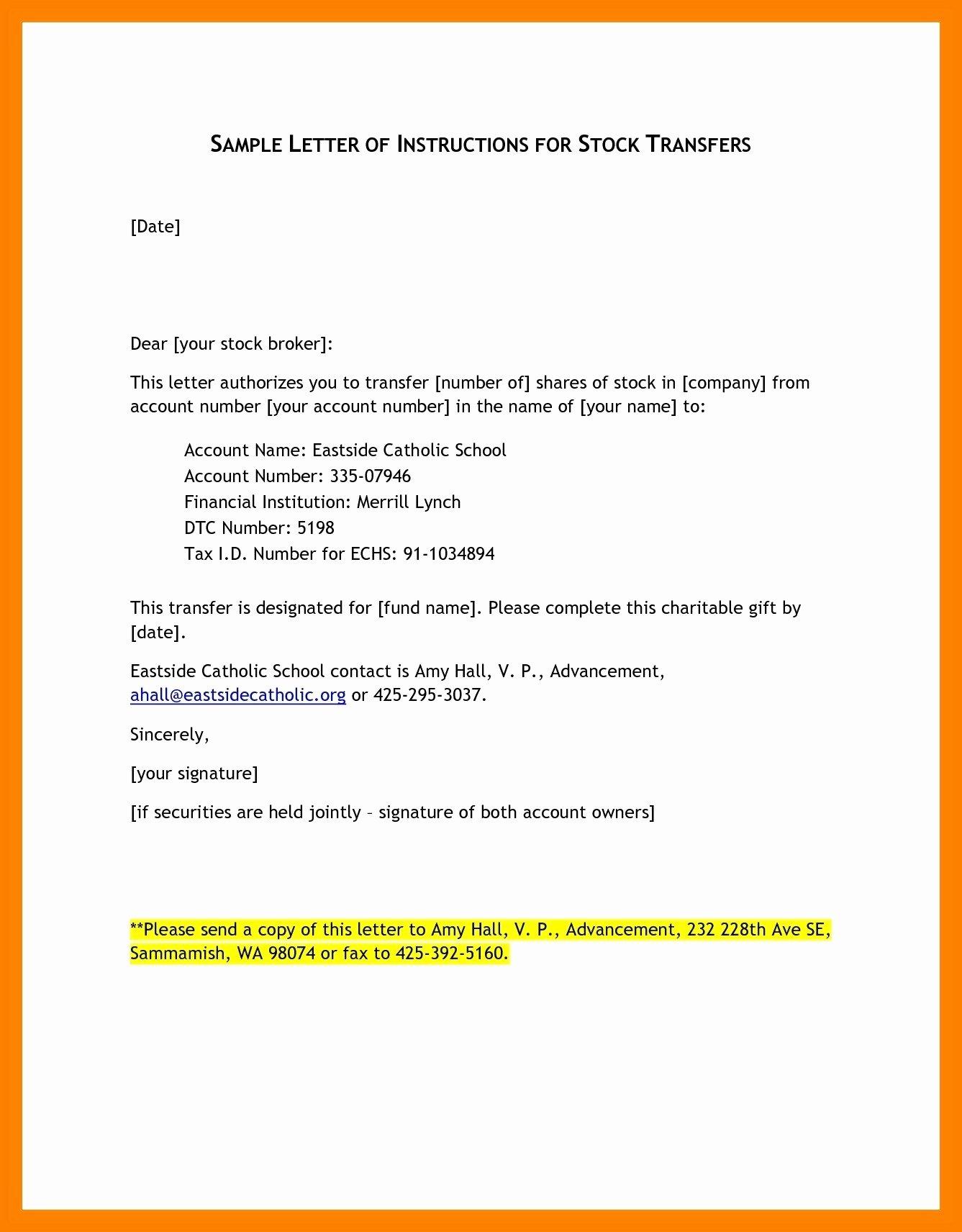 Letter Of Instruction Template Bank Elegant Letter Instruction Template Stock Transfer Collection